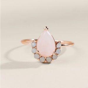 Francesca's Miranda Rose Quartz Teardrop Ring